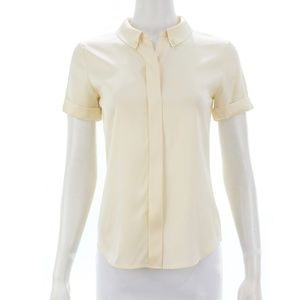 THEORY IVORY SILK BLEND BUTTON DOWN SIZE PETITE